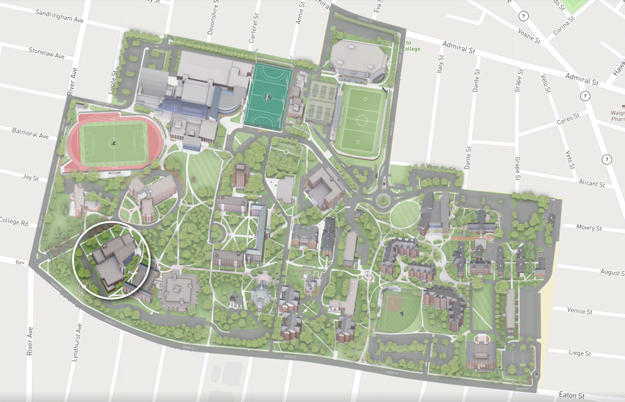 Map of Science Complex on campus at Providence College